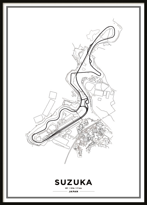 Poster, Suzuka International Racing Course F1 Print vit