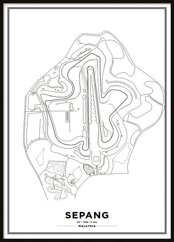 Poster, Sepang International Circuit Formula 1 Print Vit