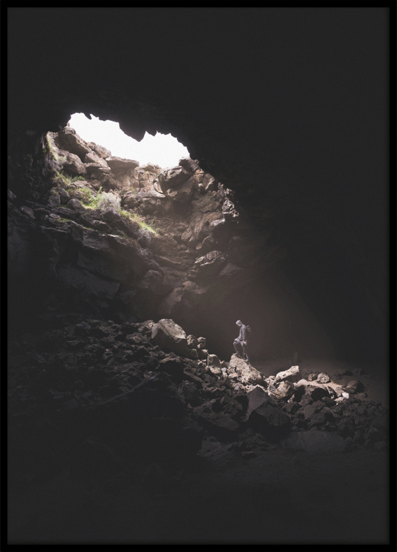Poster, Man in a cave
