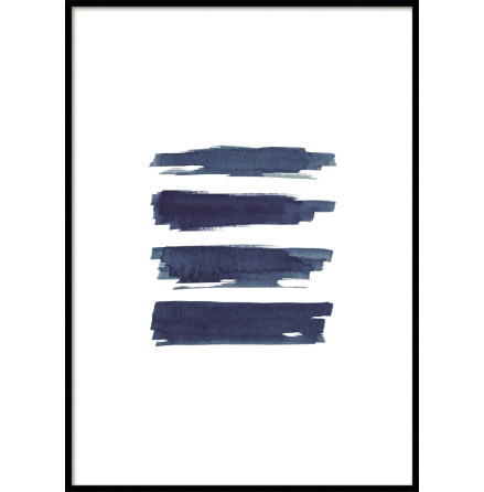 POSTER, BRUSH STROKES BLUE